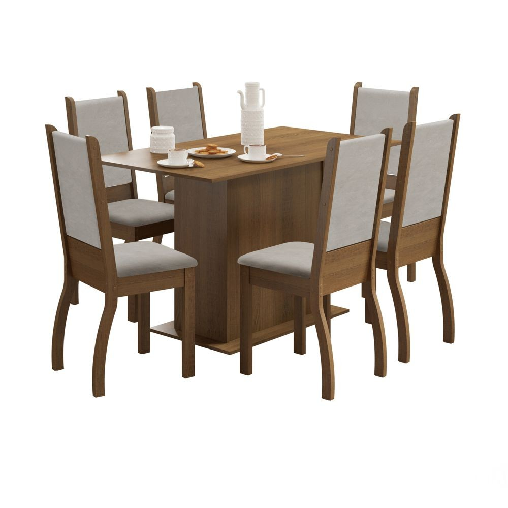 Sala de Jantar Greice Conjunto Mesa Retangular e 6 Cadeiras Estofadas Madesa