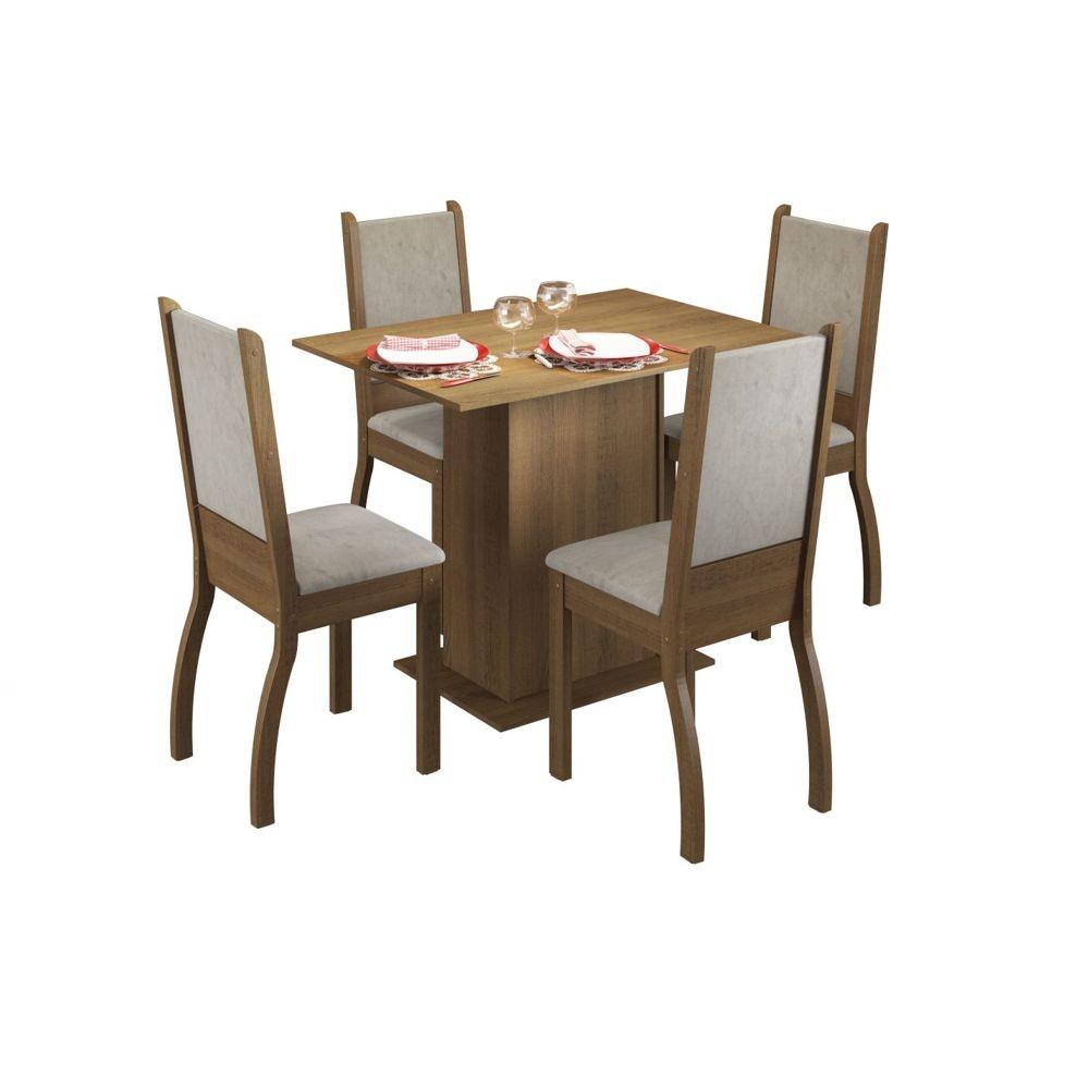 Sala de Jantar Isabel Conjunto Mesa Retangular e 4 Cadeiras Estofadas Madesa