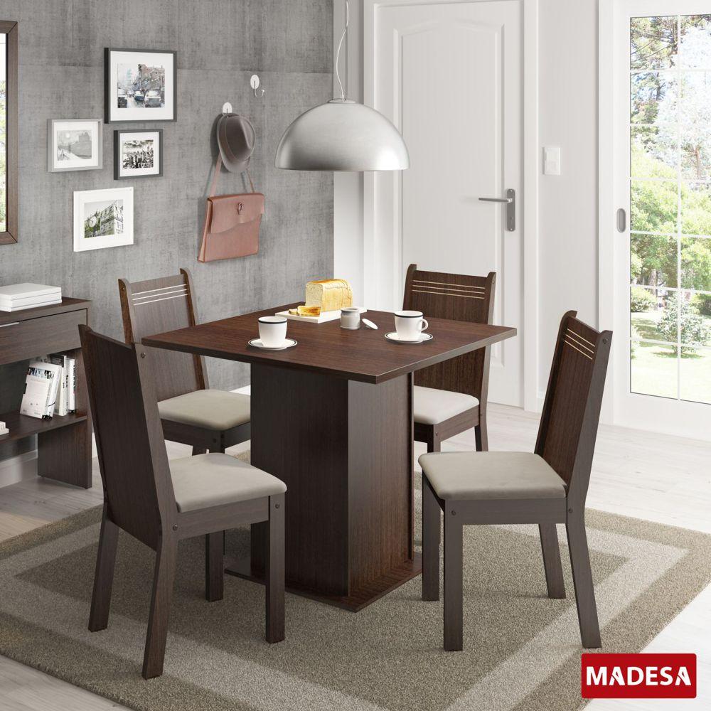 Sala de Jantar Kate Conjunto Mesa Retangular e 4 Cadeiras Estofadas Madesa