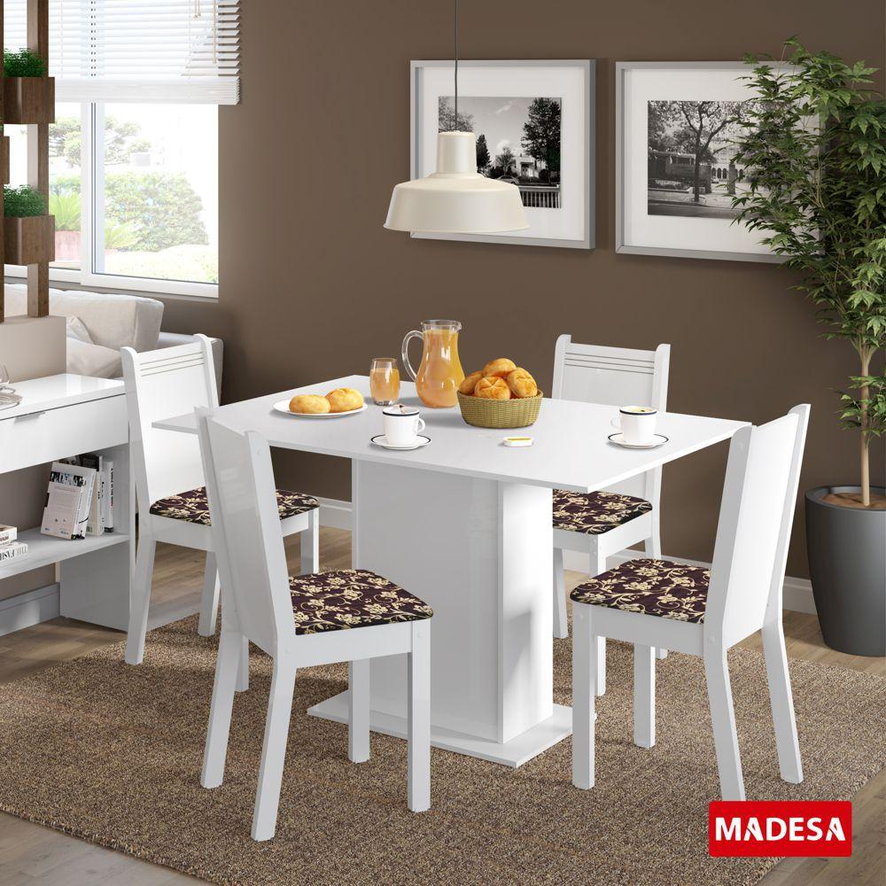 Sala de Jantar Lexy Conjunto de Mesa com 4 Cadeiras 4506 Madesa