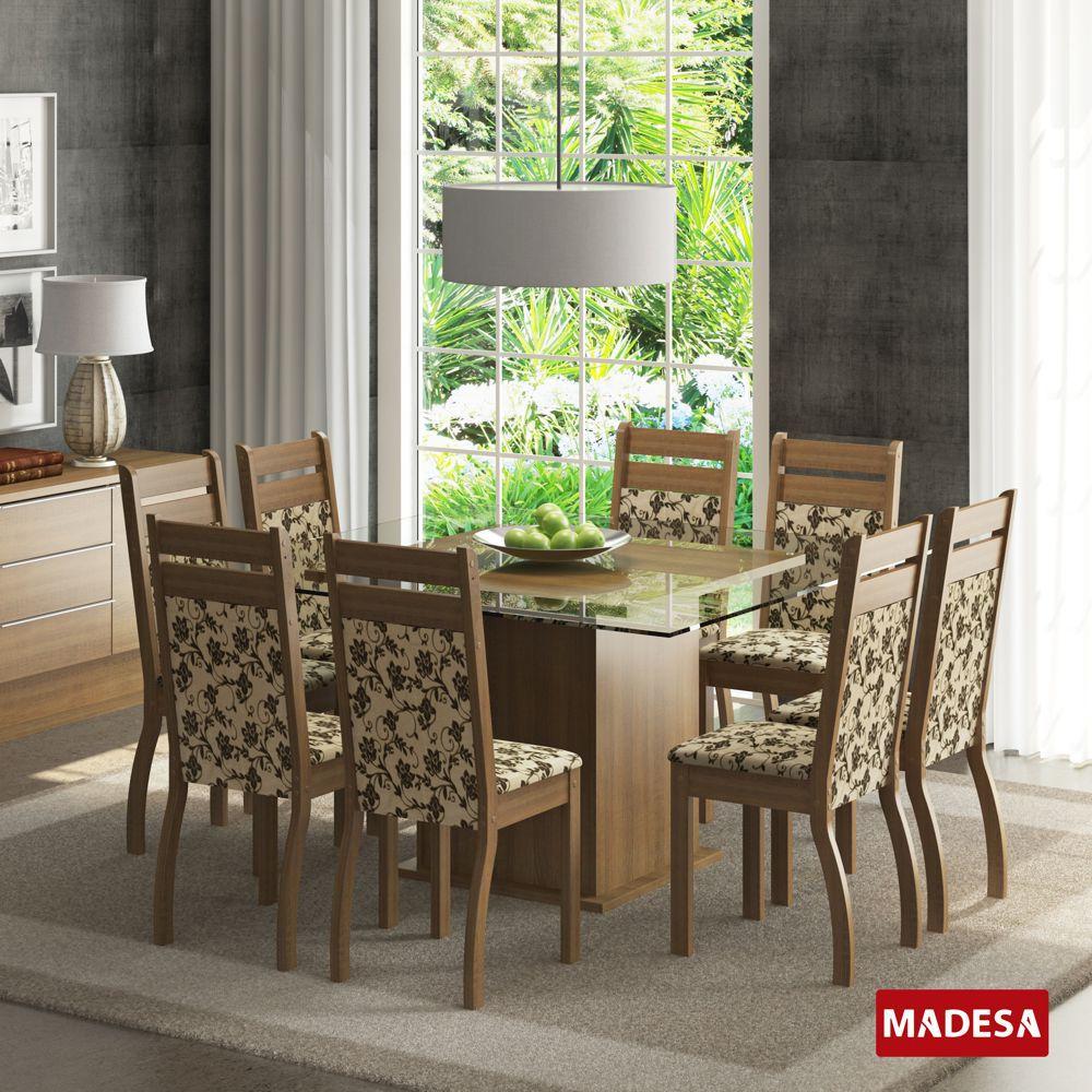 Sala de Jantar Louise Conjunto de Mesa com 8 Cadeiras 4467 Madesa