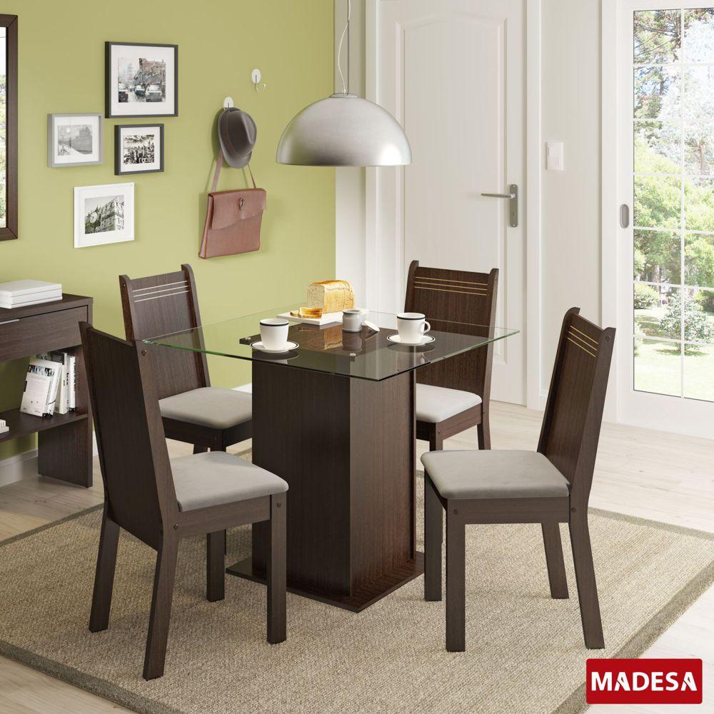 Sala de Jantar Lucy Conjunto de Mesa com 4 Cadeiras 4471 Madesa
