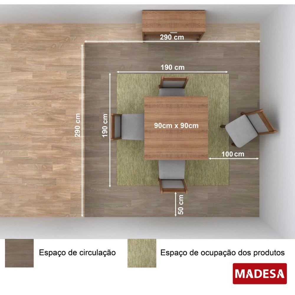 Sala de Jantar Lucy Conjunto Mesa Quadrada e 4 Cadeiras Estofadas Madesa