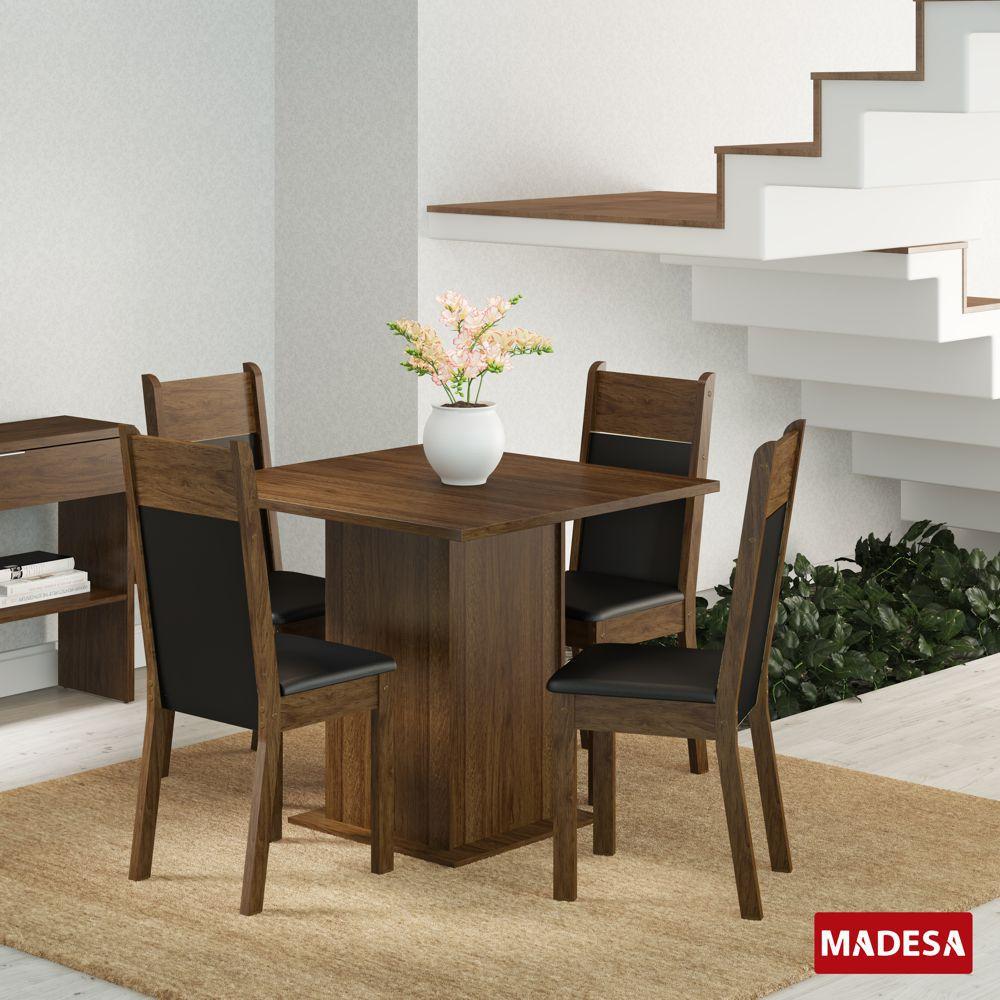 Sala de Jantar Malibu Conjunto de Mesa com 4 Cadeiras 4401 Madesa