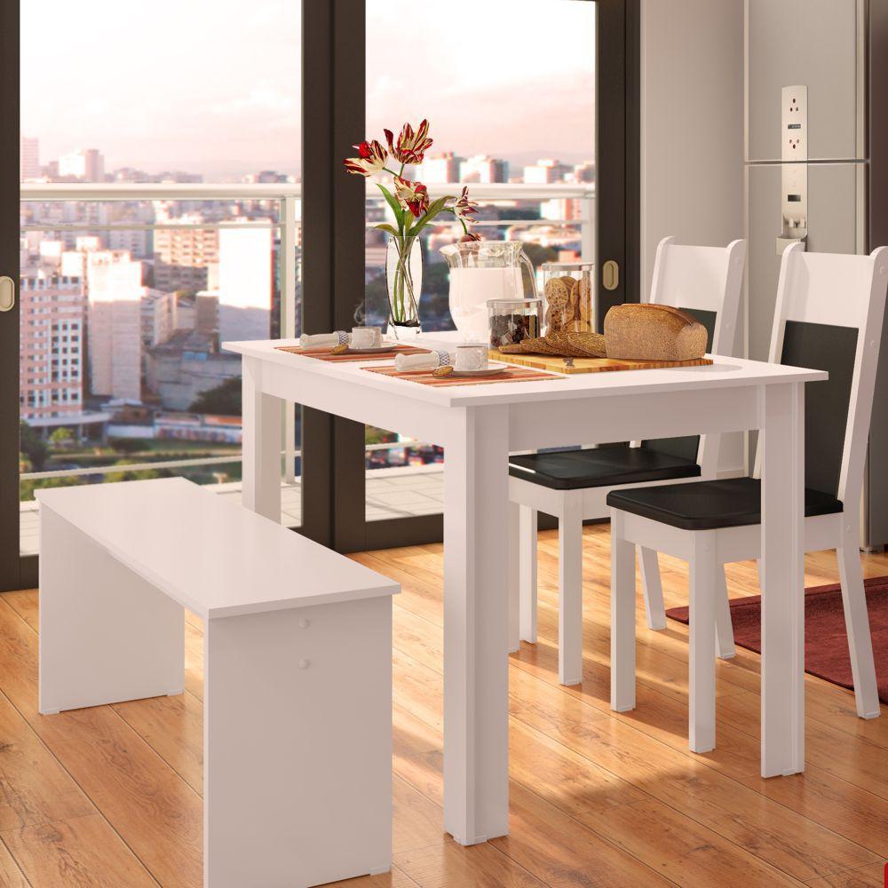 Sala de Jantar Mara Conjunto de Mesa com 2 Cadeiras e Banco 4407 Madesa