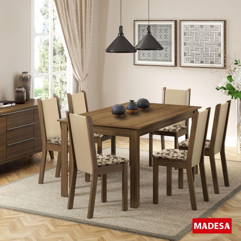 Sala de Jantar Miriam Conjunto de Mesa com 6 Cadeiras 4564 Madesa