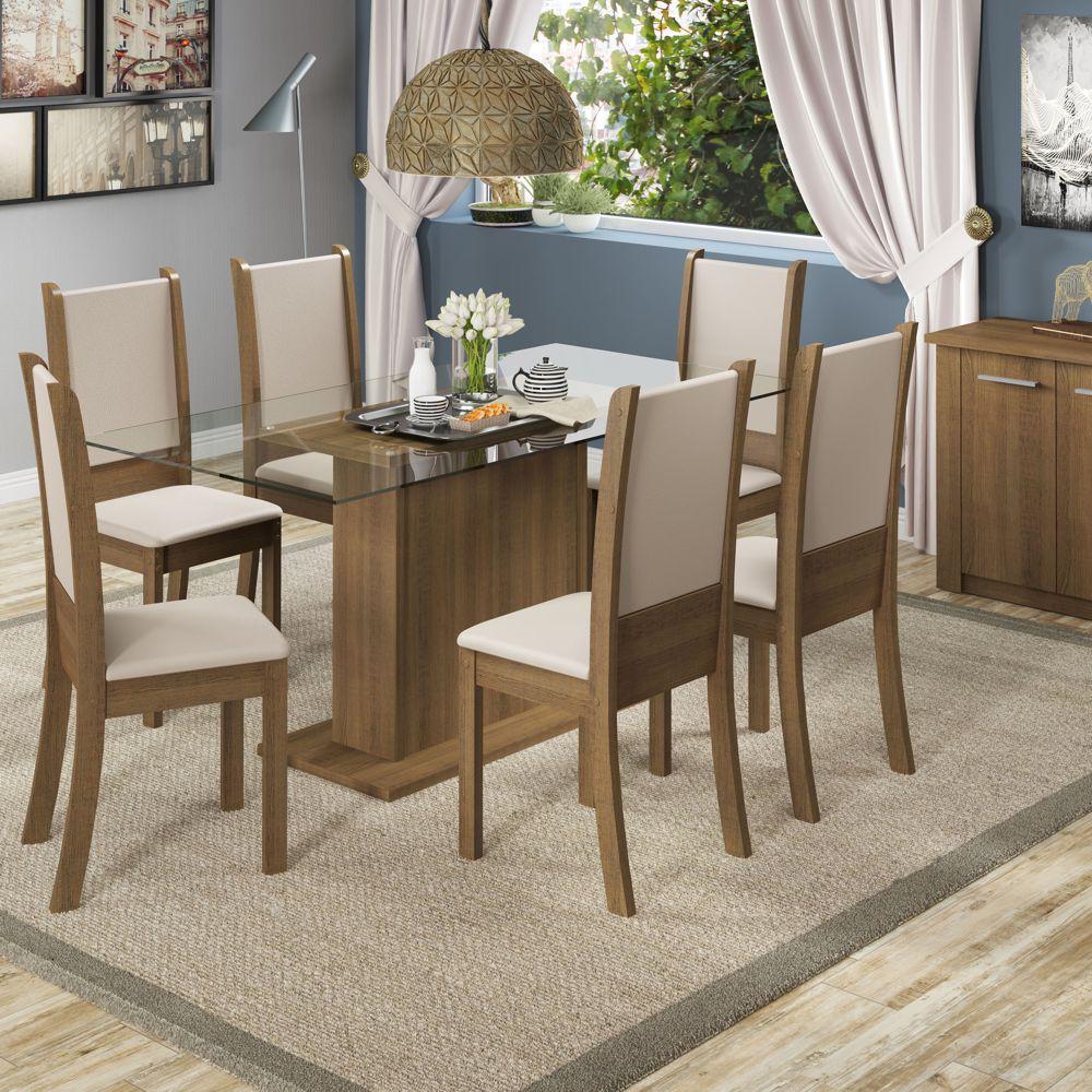 Sala de Jantar Modena Conjunto Mesa Retangular e 6 Cadeiras Estofadas Madesa