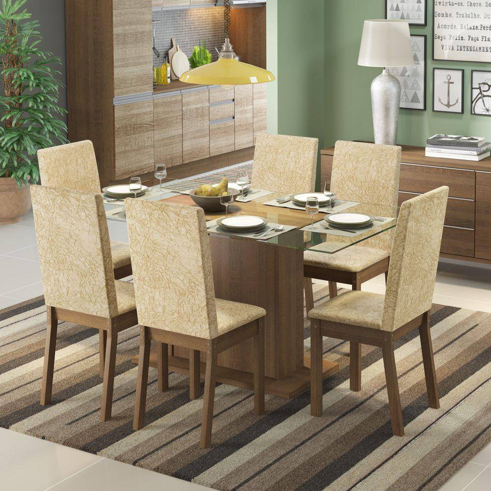Sala de Jantar Nanda Conjunto de Mesa com 6 Cadeiras 4544 Madesa