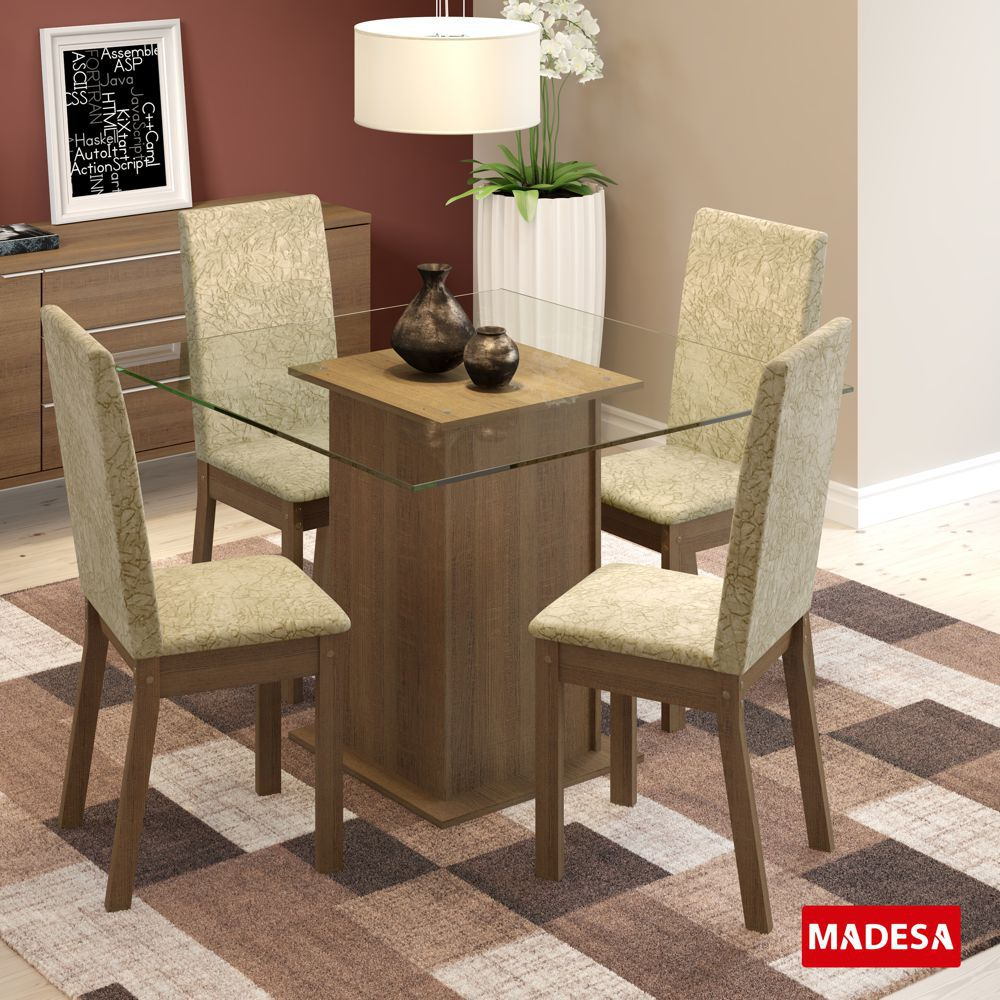 Sala de Jantar Nina Conjunto de Mesa com 4 Cadeiras 4545 Madesa