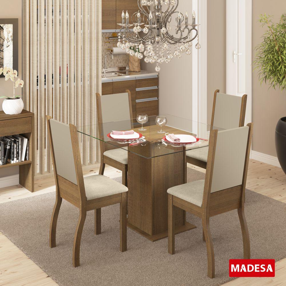 Sala de Jantar Soraya Conjunto Mesa Quadrada e 4 Cadeiras Estofadas Madesa