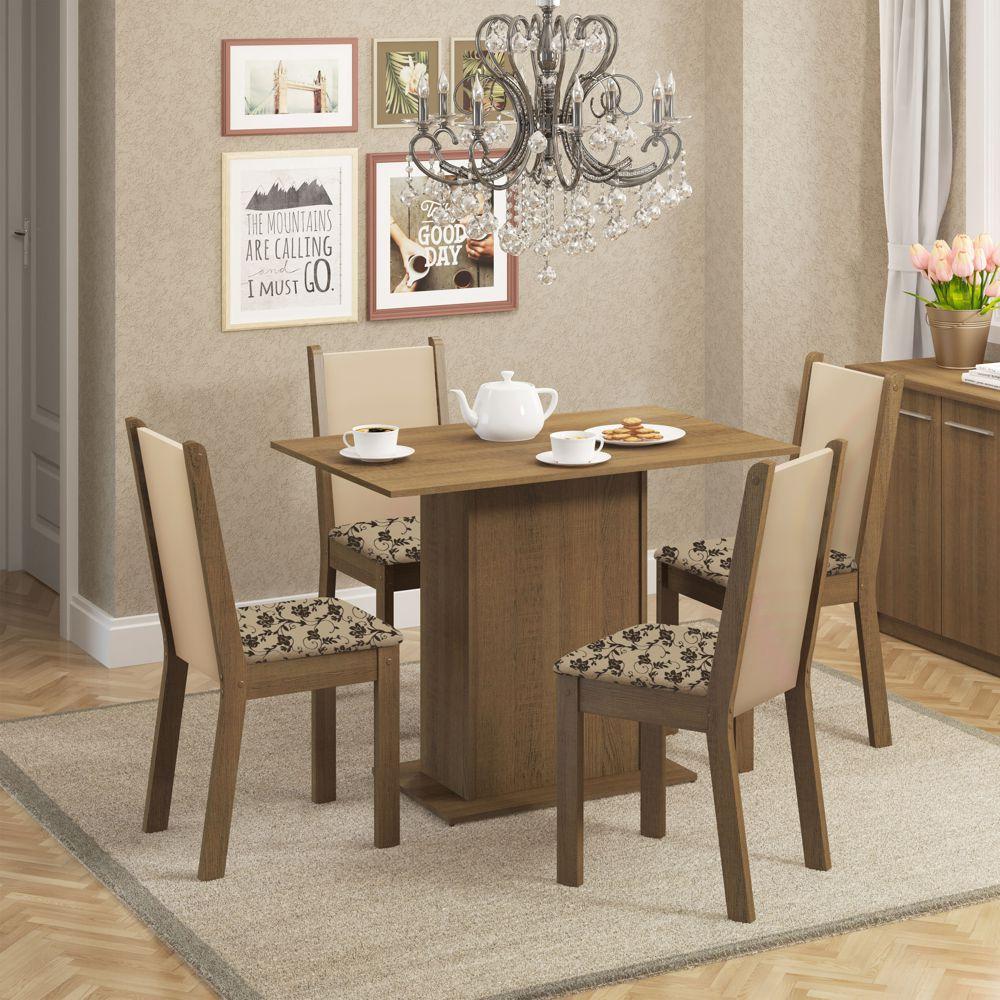 Sala de Jantar Talita Conjunto de Mesa com 4 Cadeiras 4567 Madesa