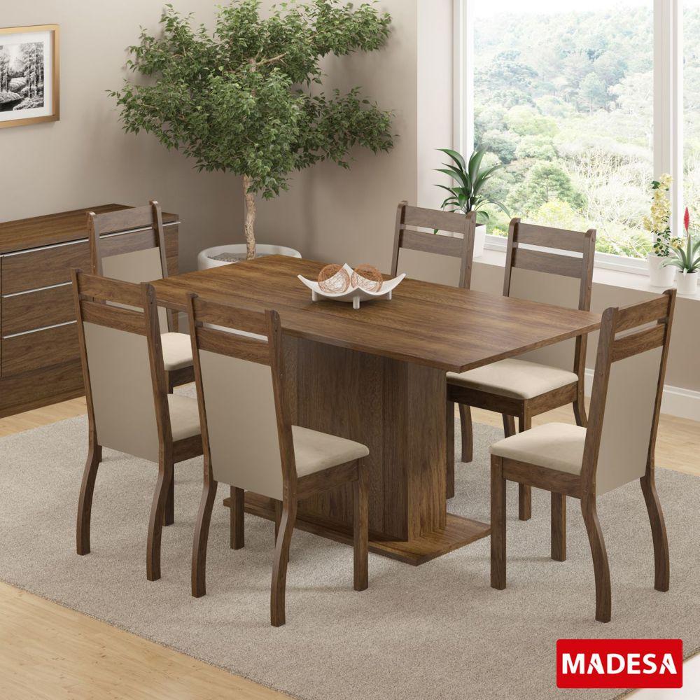 Sala de Jantar Versalhes Conjunto Mesa Retangular e 6 Cadeiras Estofadas Madesa