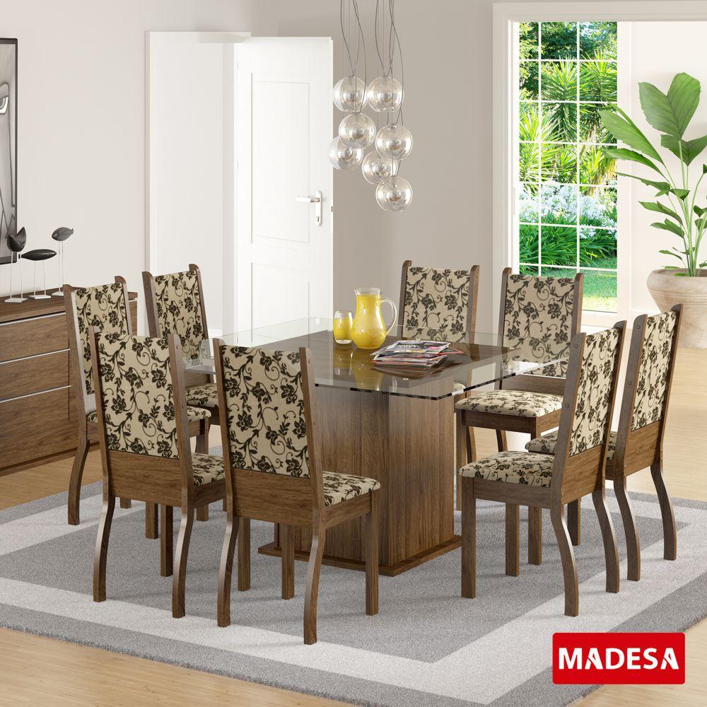 Sala de Jantar Vívian Conjunto de Mesa com 8 Cadeiras 4412 Madesa