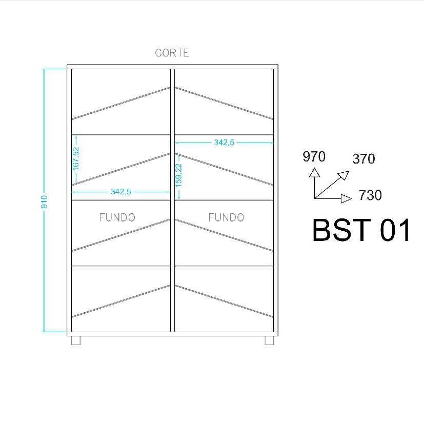 Sapateira 2 Portas 24 pares 73cm BST 01 BRV Móveis