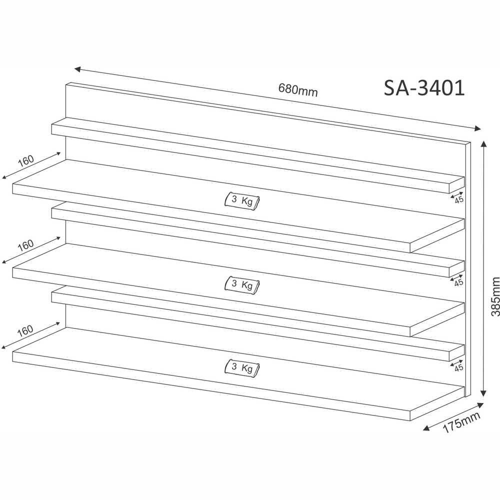 Sapateira Compacta Suspensa para 9 Pares SA3401 Tecno Móbili