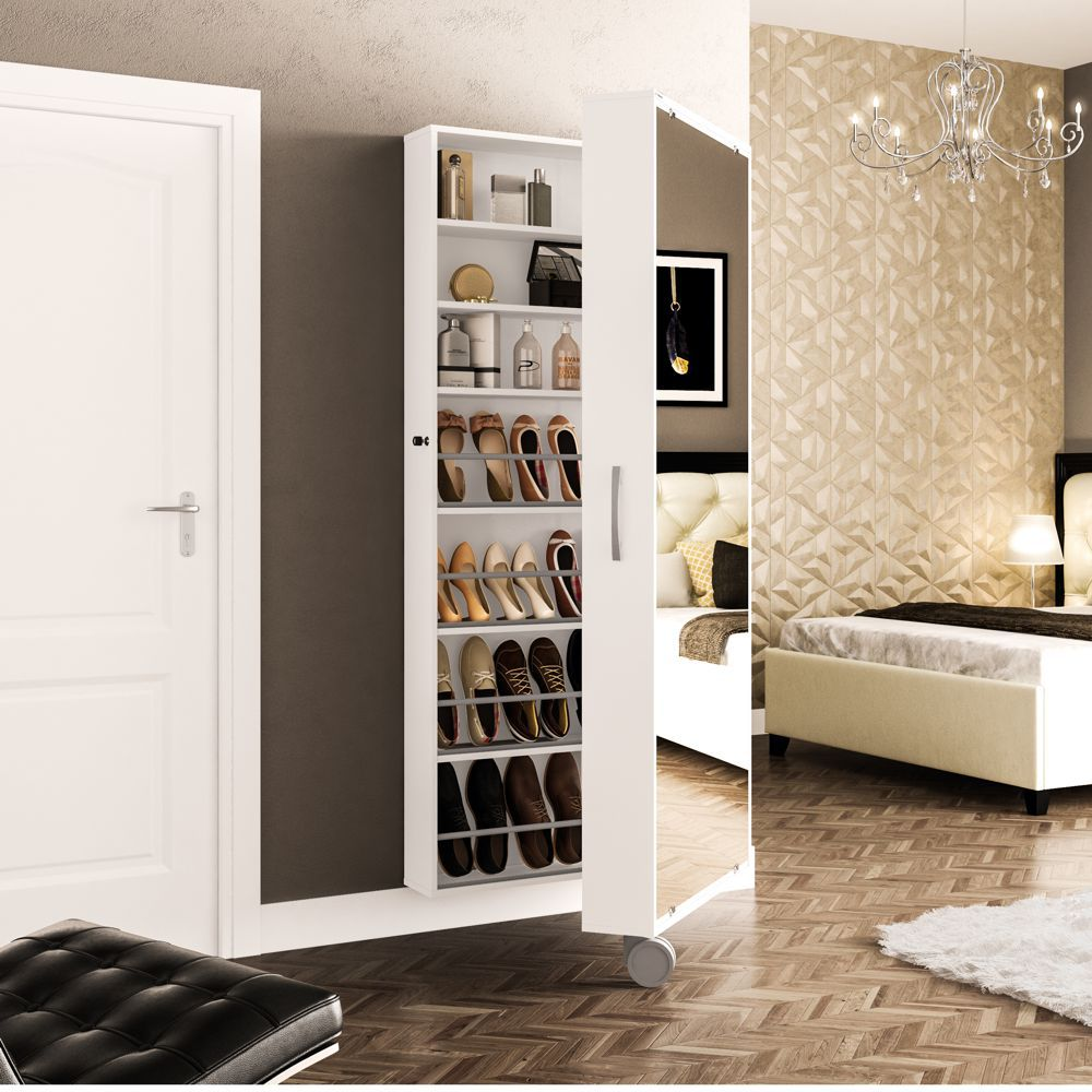 Sapateira Itu 1 porta com espelho 11 prateleiras 1 rodízio 2151 Politorno