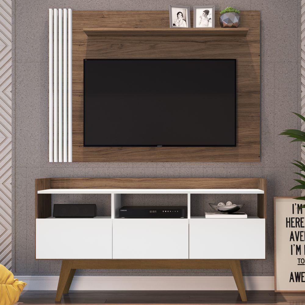 Rack Painel Estante 1,34m Para TV 50'' Vitrola Home01 Estilare