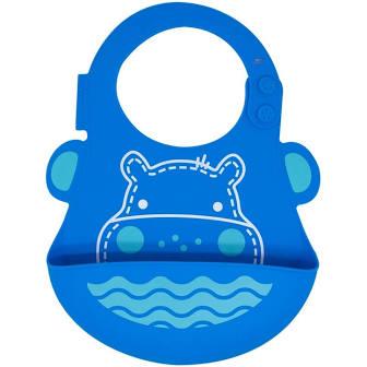 Babador em Silicone Marcus & Marcus Hipopótamo Azul