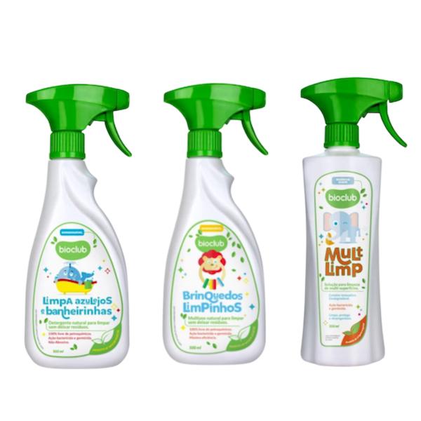 Bioclub Baby Kit Limpeza de Brinquedos, Limpeza de Azulejos e Banheiras e Limpa Superfícies