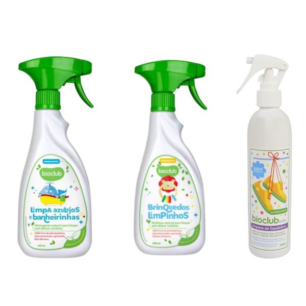 Bioclub Baby Kit Limpeza de Sapatinhos, Limpa Azulejos e Banheiras e Limpa Brinquedos
