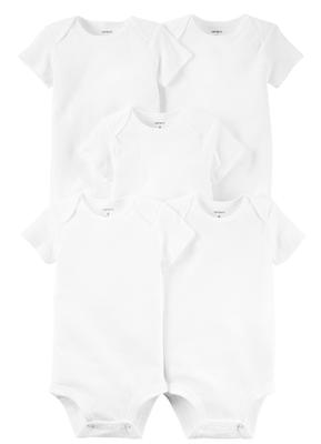 Body Carter's Mangas Curtas Branco Kit c/5 Peças