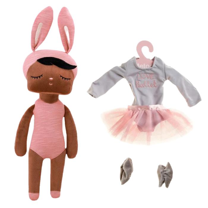 Boneca Metoo Fashion Negra Kit c/ Roupa Ballet