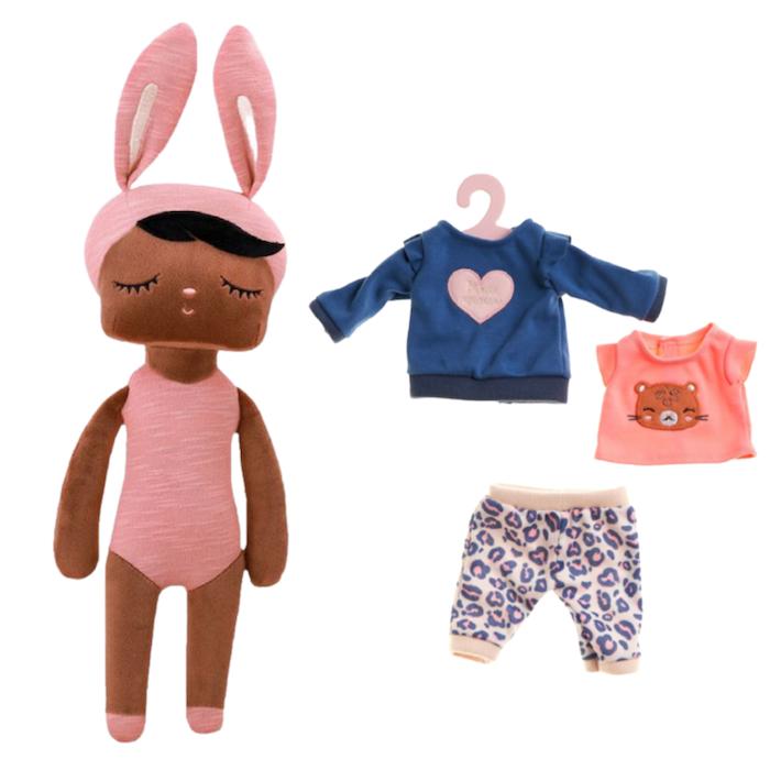 Boneca Metoo Fashion Negra Kit c/ Roupa Escolar