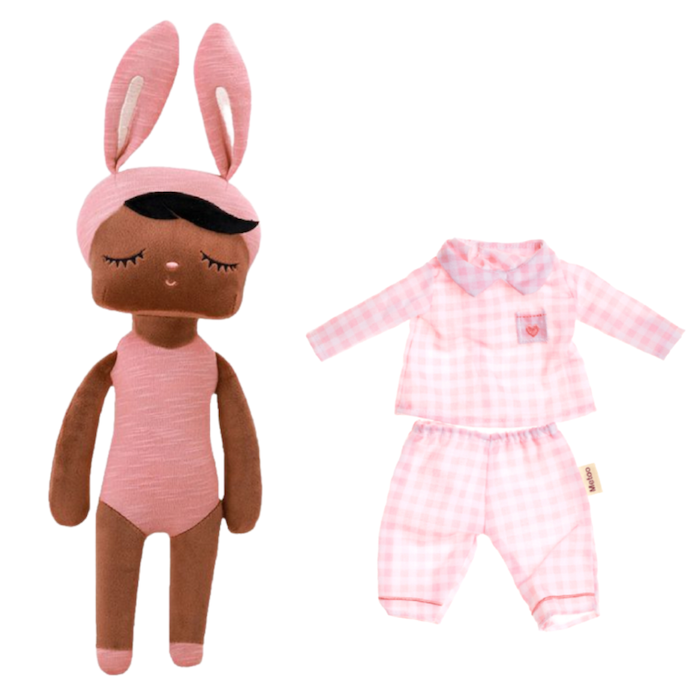 Boneca Metoo Fashion Negra Kit c/ Roupa Pijama