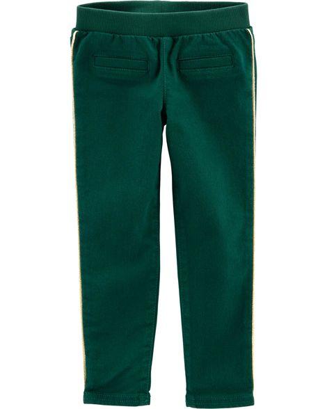 Calça Verde com Listras Douradas Carter's