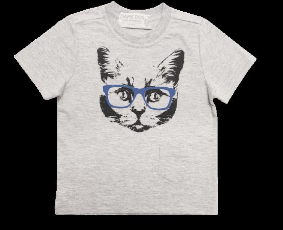 Camiseta Gato de Óculos Dame Dos Mescla