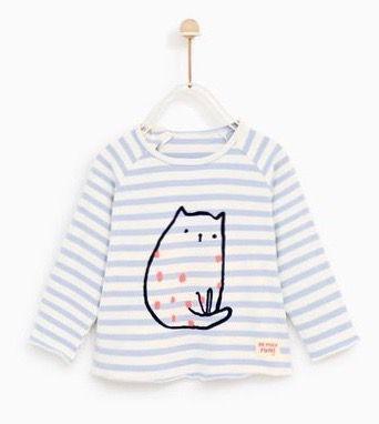 Camiseta Listrada Gato Zara