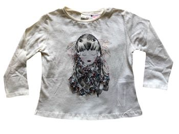 Camiseta Menina com Aplique Zara