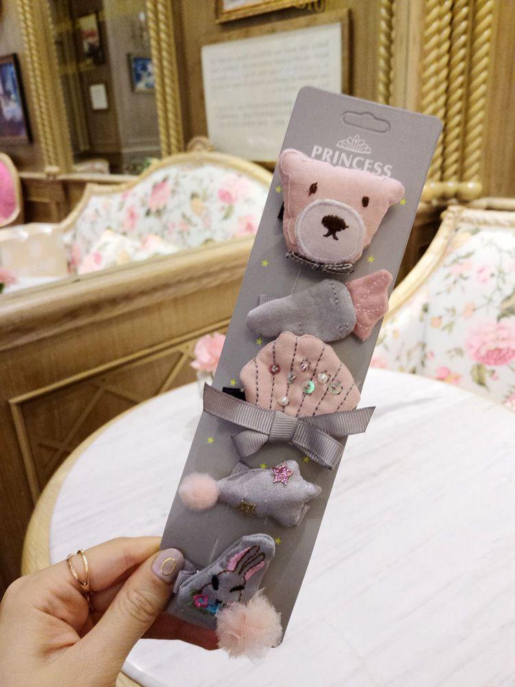 Cartela com Urso Rosa Bichinhos de Cabelos