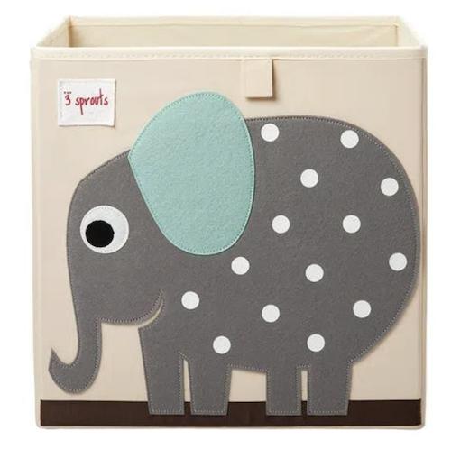 Cesto Organizador Infantil 3 Sprouts Quadrado Elefante