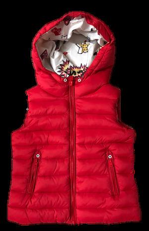 Colete em Nylon Matelassê vermelho Zara