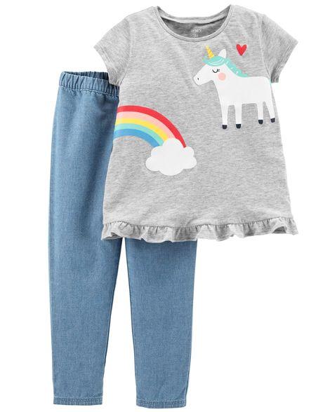 Conjunto Calça Jeans e Blusa Unicórnio Carter's