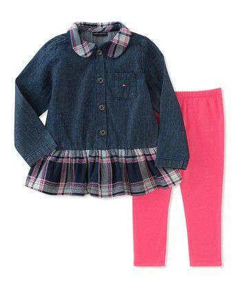 Conjunto com Blusa Jeans e Xadrez Tommy Hilfiger