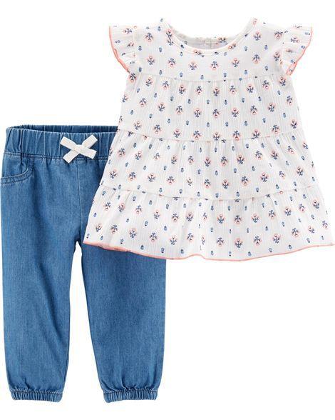 Conjunto com Calça Chambray e Blusa Floral Carter's