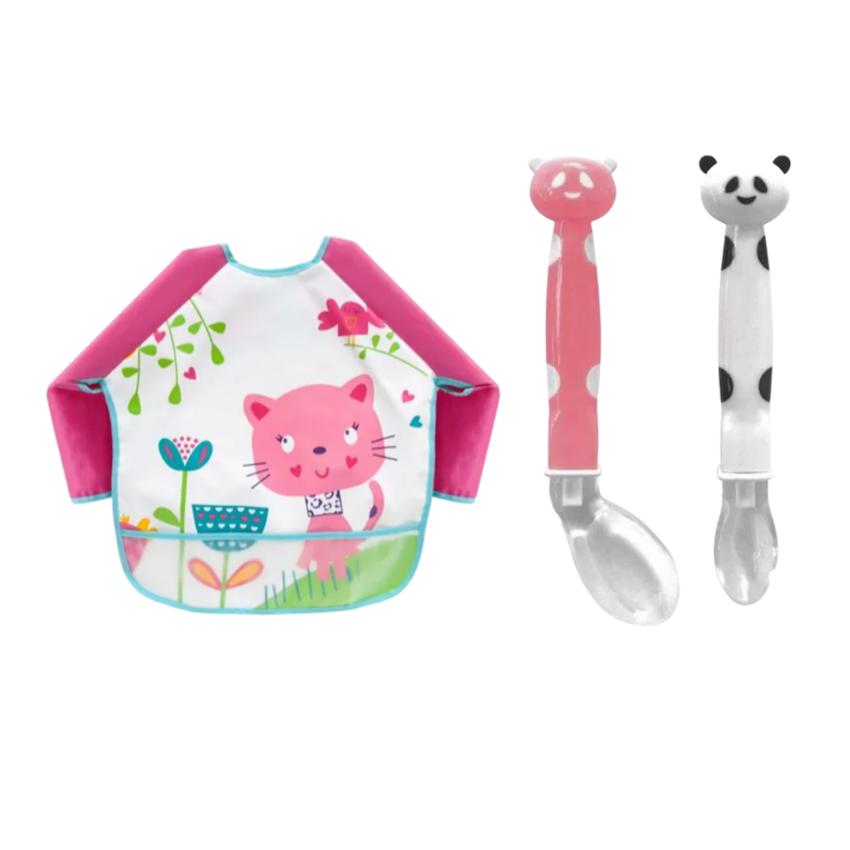 Kit Buba Baby Babador e Talheres Panda Rosa