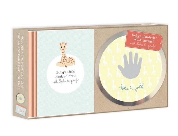kit com Impressão da Mão do Bebê e Diário Sophie La Girafe