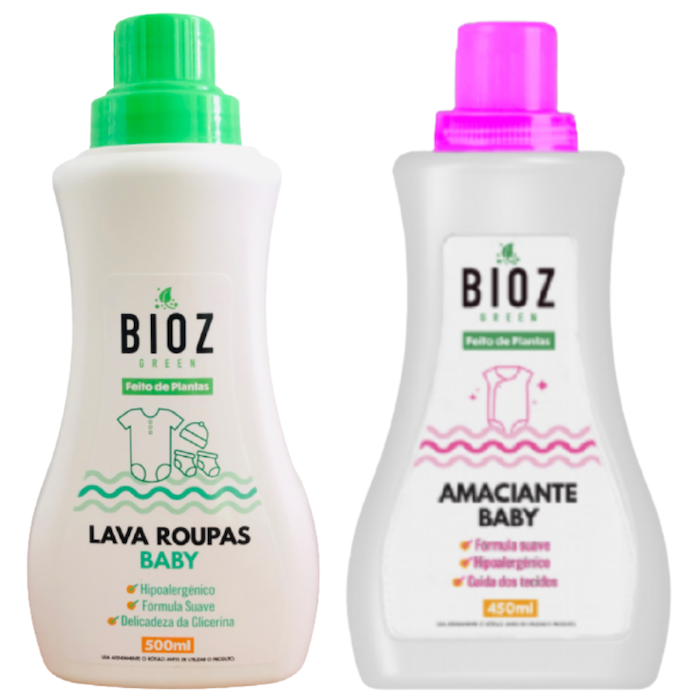 Kit Bioz Green Lava Roupas e Amaciante Bebê
