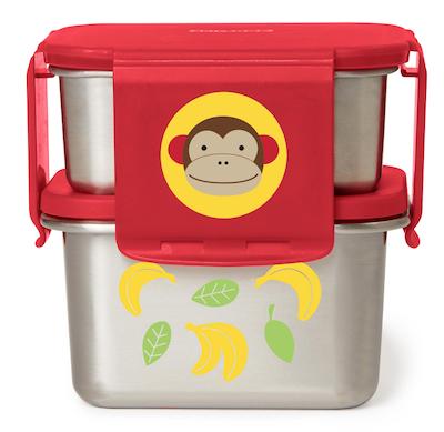 Kit para Lanches em Aço Inoxidável Skip Hop Zoo Macaco