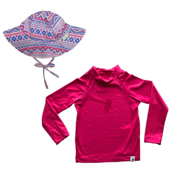 Kit Praia Ecoeplay Camiseta Pink e Chapéu Geométrico