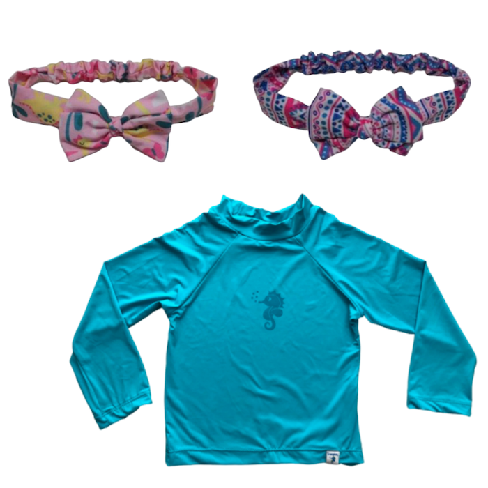 Kit Praia Ecoeplay Camiseta Turquesa e 2 Lacinhos Étnico e Dino