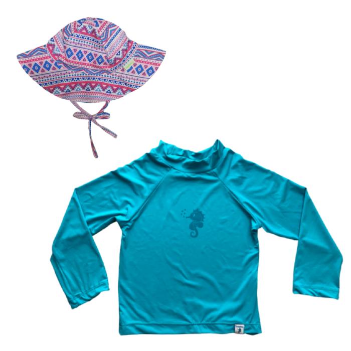 Kit Praia Ecoeplay Camiseta Turquesa e Chapéu Geométrico