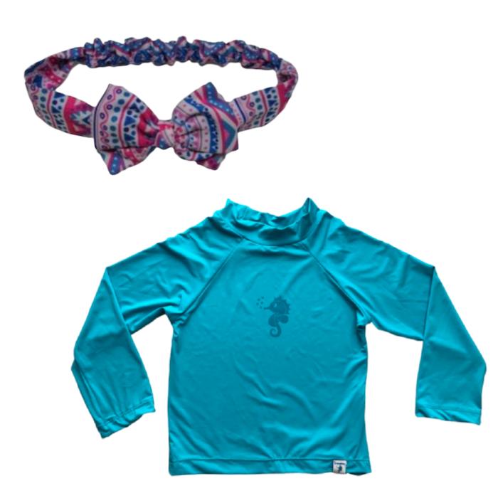 Kit Praia Ecoeplay Camiseta Turquesa e Laço Étnico