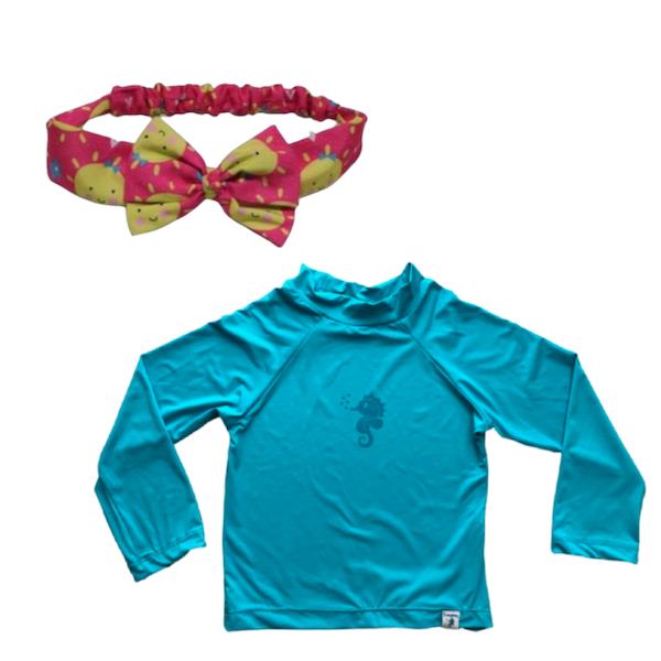 Kit Praia Ecoeplay Camiseta Turquesa e Laço Solzinho