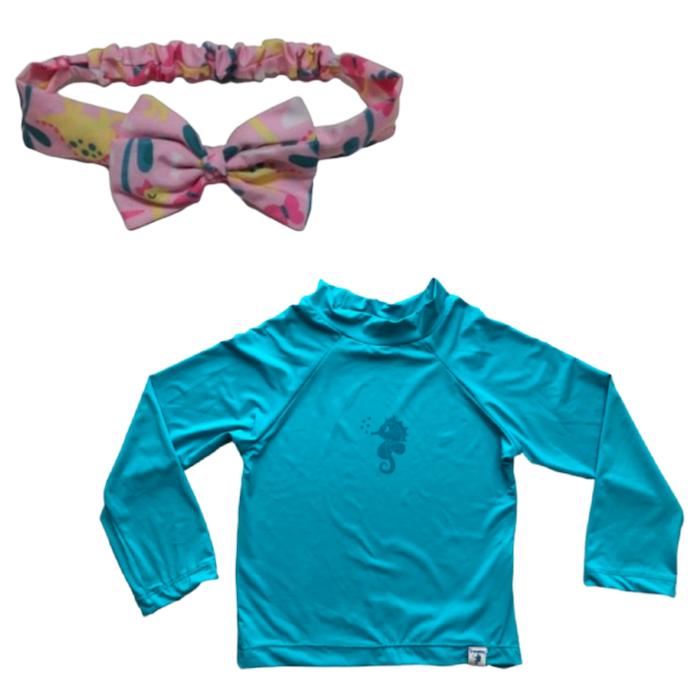Kit Praia Ecoeplay Camiseta Turquesa FPS e Laço Dinossaura