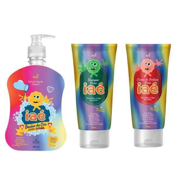 Kit Slime de Banho Sabonete Líquido Laranja Shampoo e Condicionador Iaé