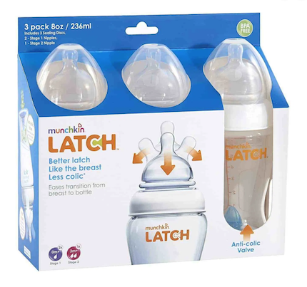Mamadeiras Latch Munchkin Kit c/3 240ml Estágios 1 e 2